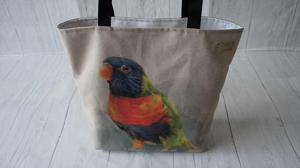 Parrot Print Tote Bag. Strong Lined Bag with 100cm handles