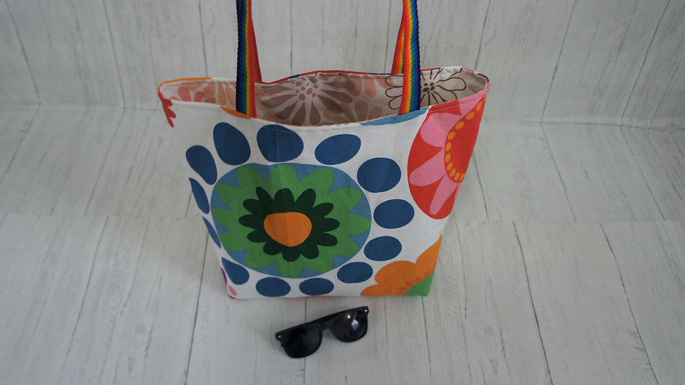 Floral shopping tote bags with limited stock. Rainbow handles Recycled fabrics