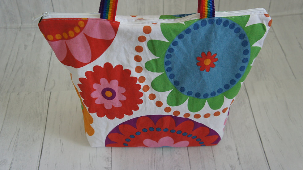 Colourful floral zip top shopping tote bag with rainbow handles recycled fabrics