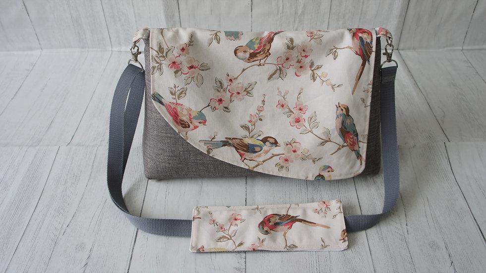 Large Shoulder Bag Kath Kidston British Birds Fabric Flap Grey Create England