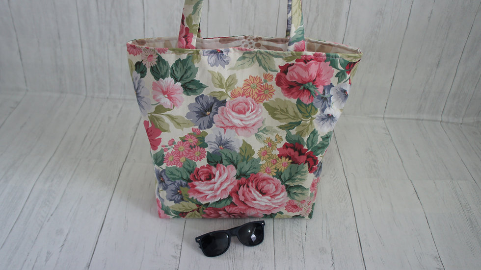 100% Recycled Fabric Floral Shopping Tote Bag