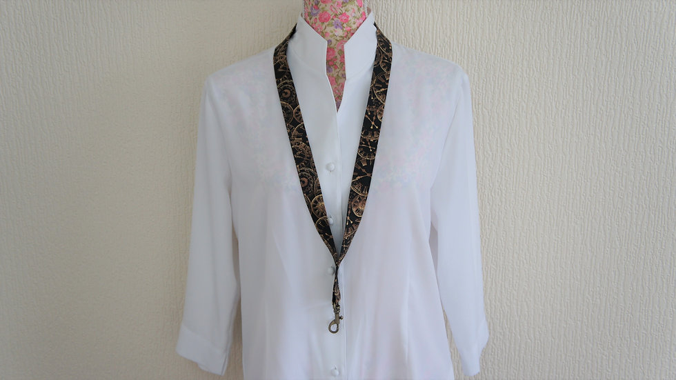 Lanyard with swivel clasp. Clocks black and brown cotton continuous fabric