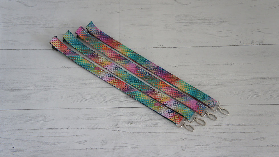 Lanyard Colourful with swivel clasp and safety snap clip. 100% cotton fabric