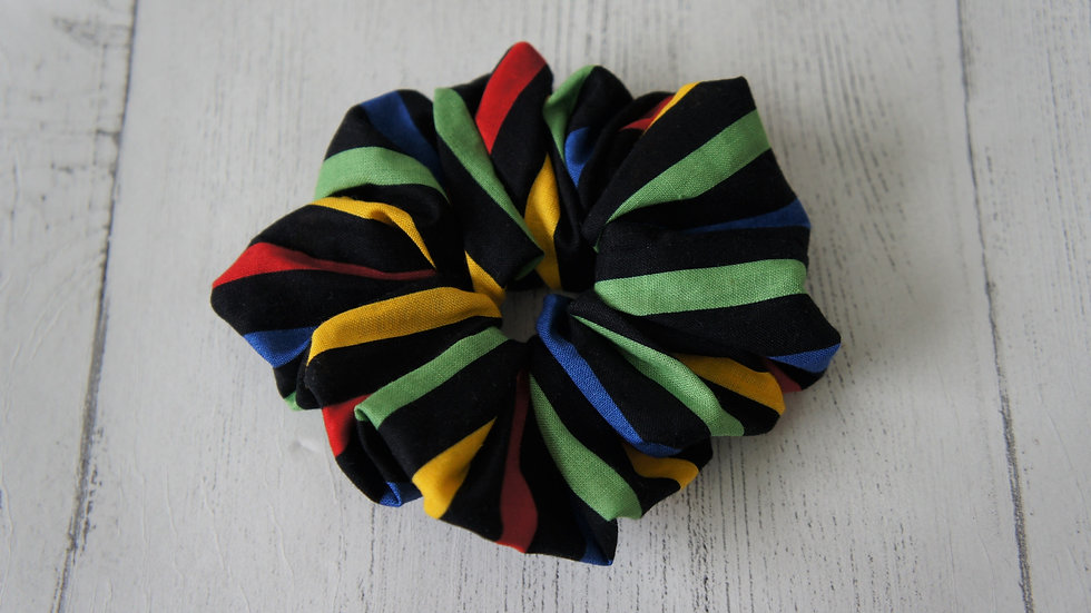 Black with colourful stripe 100% cotton scrunchie Create-England