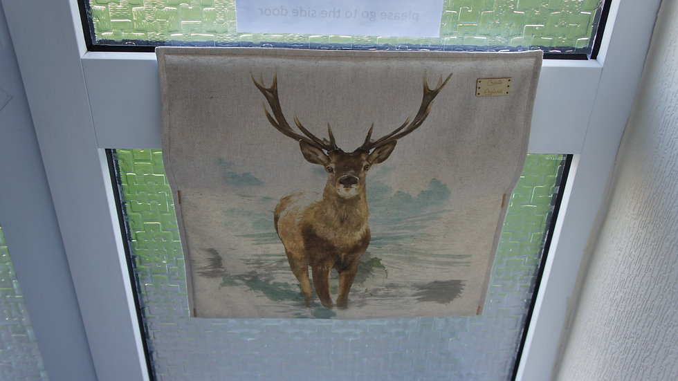 Letter box post catcher Stag fabric . Attaches easily with hook and eye