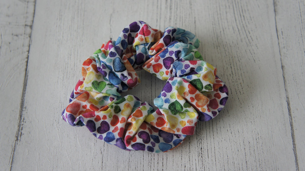 Bright and colourful hearts 100% cotton scrunchie Create-England