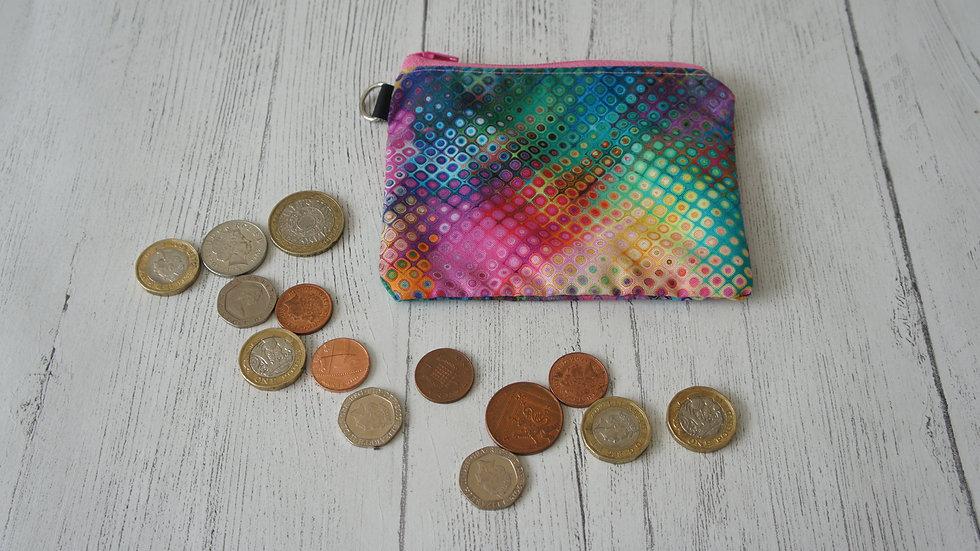 Single Section Coin Purse Colourful Disco Spots Fabric
