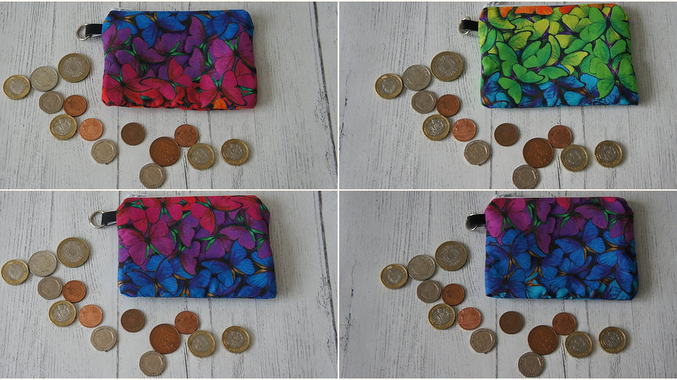 Three Section Coin Purse Colourful Butterfly Fabric