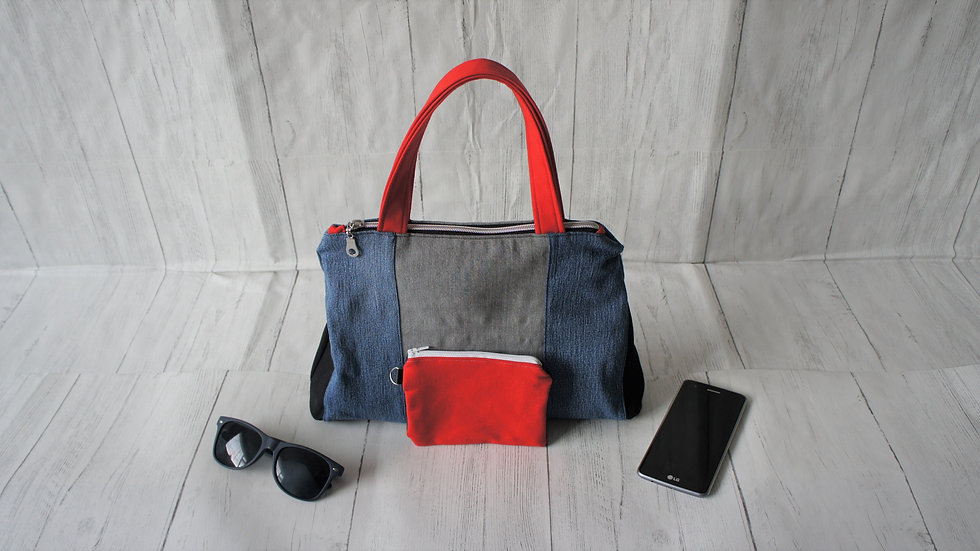 Recycled denim top handle bag with coin purse and zip top red, grey, blue, black