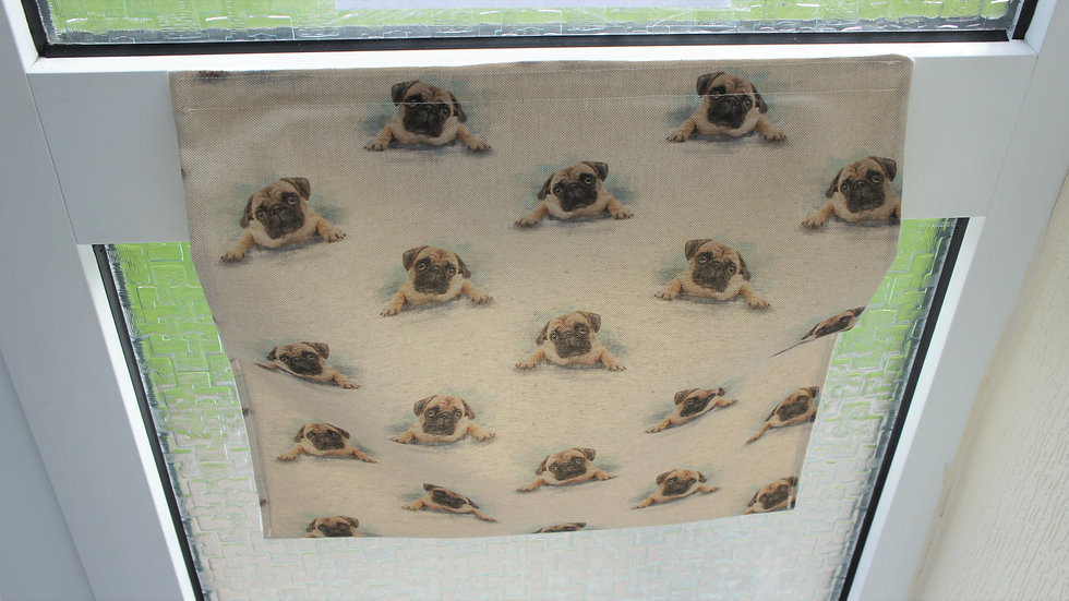 Pug fabric letter box post catcher. Attaches easily with hook an loop system