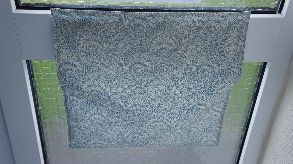 Letter box post catcher Light Blue floral. Attaches easily with hook and loop