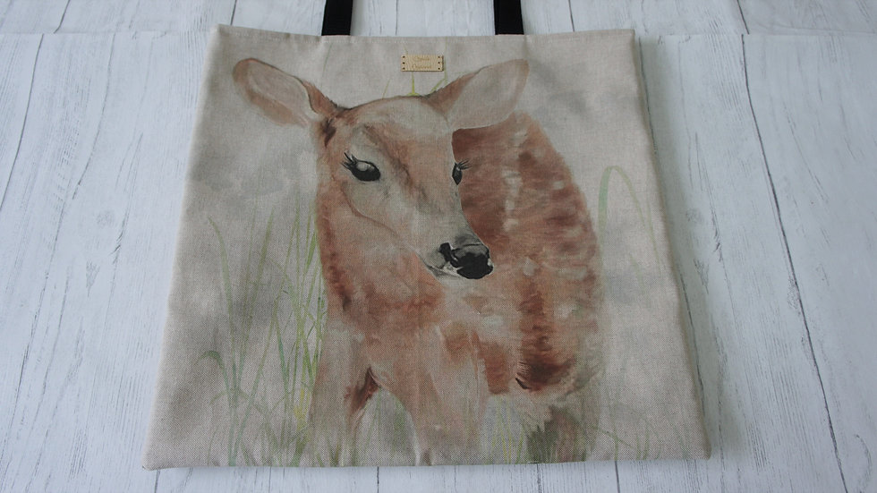 Deer Print Flat Tote Bag. Strong and Fully Lined Bag with 70cm handles.