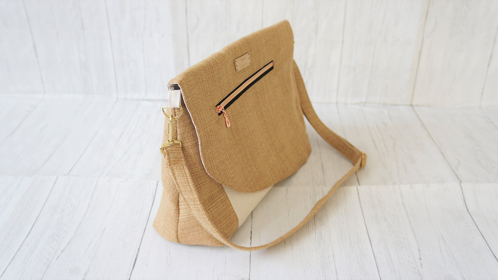 Cream and Gold Recycled Fabric Bag, Adjustable Strap, zip pockets