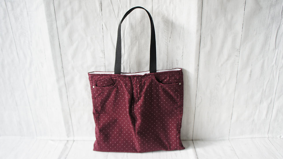 Upcycled jeans tote bag in Burgundy with cream spots. Fully lined