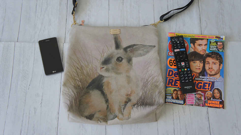 Rabbit Print zip top Bag. Strong Lined Bag Adjustable Strap Internal Pockets