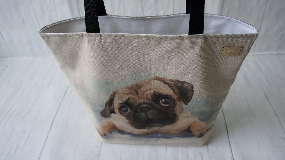 Pug Print Tote Bag. Strong Lined Bag with 100cm handles