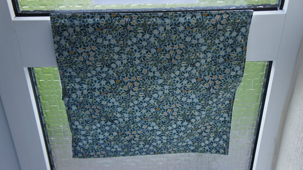 Letter box post catcher Green floral fabric . Attaches easily with hook and loop
