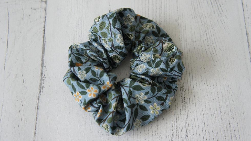 William Morris fabric mid blue floral 100% cotton scrunchie Create-England
