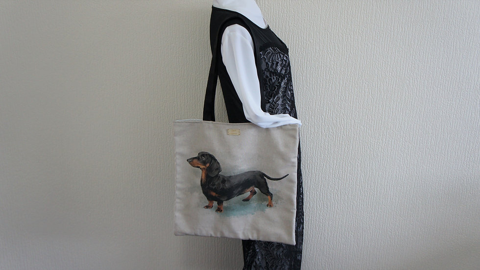 Dachshund Print Flat Tote Bag. Strong and Fully Lined Bag with 70cm handles.