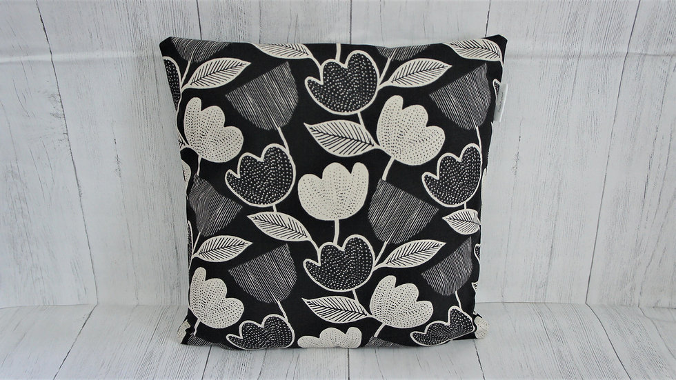Monochrome tulip print cushion covers in 16x16 inch or 18x18 inch.