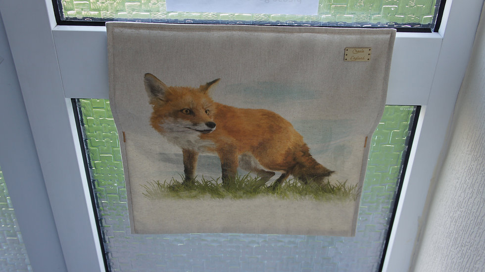 Letter box post catcher Fox fabric . Attaches easily with hook and eye