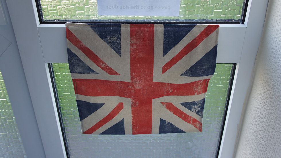 Letter box post catcher UK Union Flag fabric . Attaches easily with hook and eye