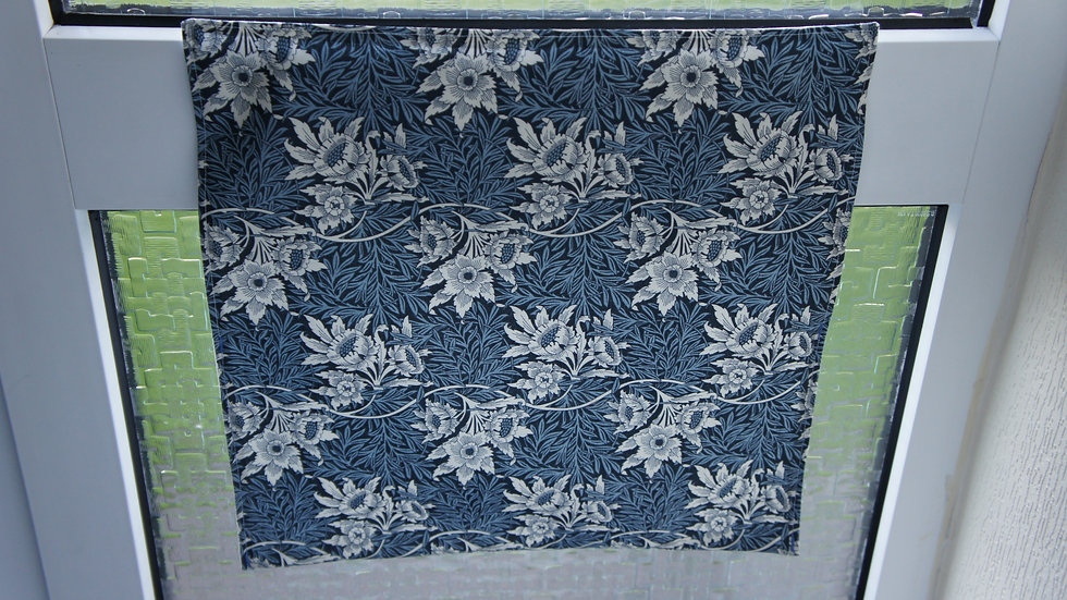 Letter box post catcher Dark Blue floral. Attaches easily with hook and loop