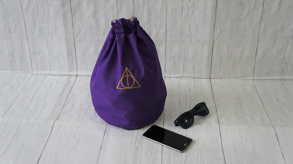 Purple Drawstring Bag With Gold Embroidery Deathly Hallows Type Sign