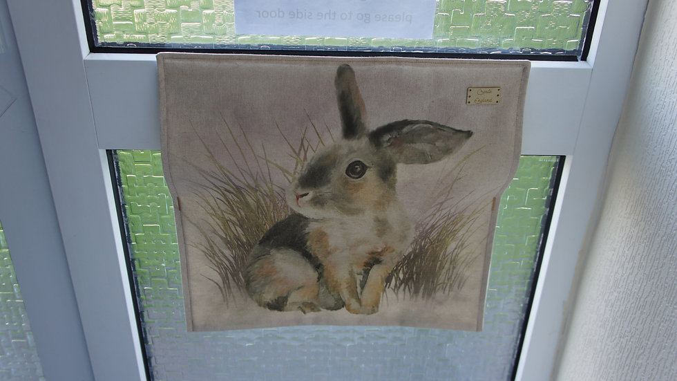 Letter box post catcher Rabbit fabric . Attaches easily with hook and eye
