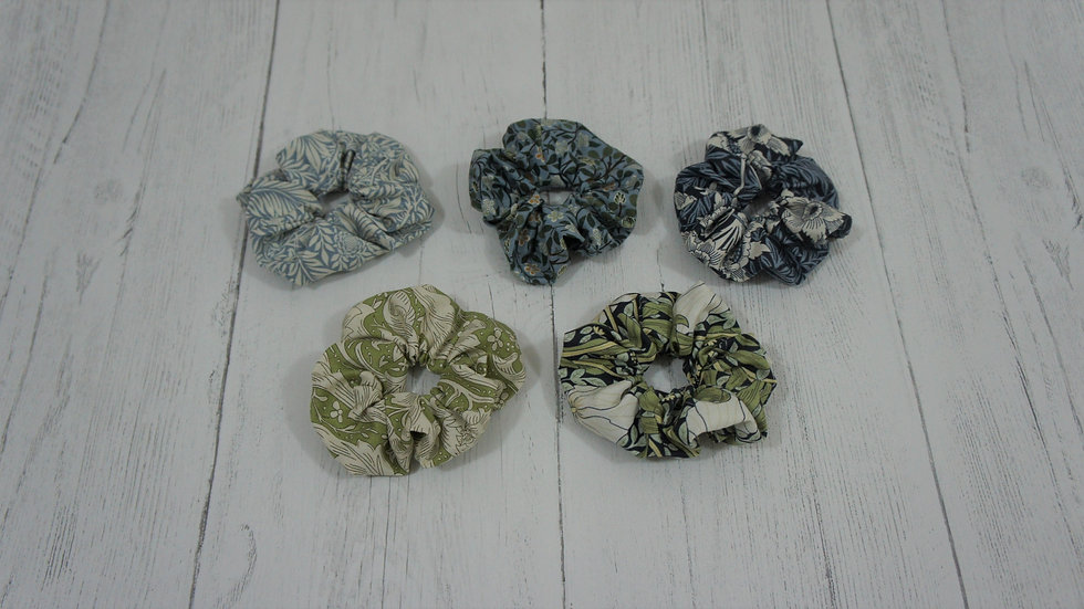 William Morris cotton fabric scrunchies. 5 patterns to choose from. Floral Green