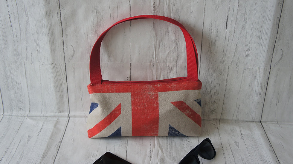 Union Flag top handle bag with zip top and red lining 29x16cm