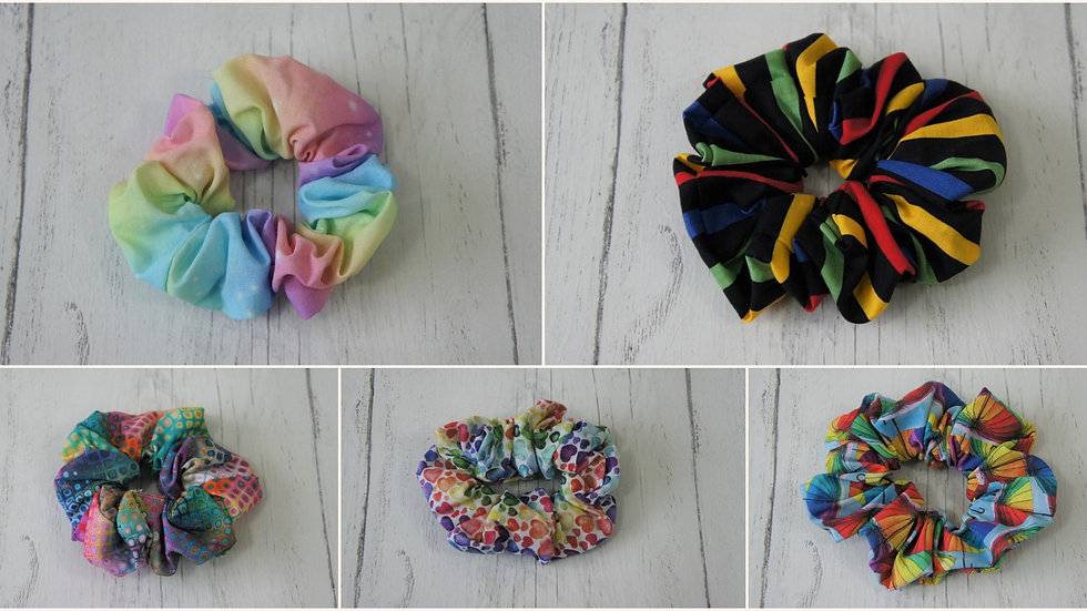 Bright stripe 100% Cotton Scrunchies. Several designs to choose from