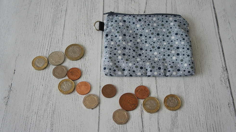 Single Section Coin Purse Grey Spots Fabric