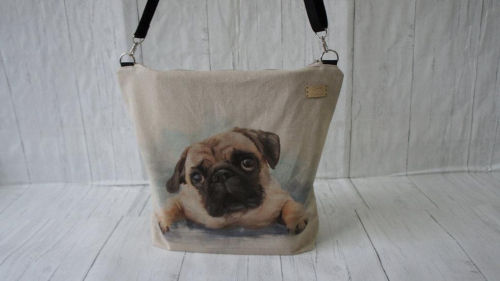 Pug Print zip top Bag. Strong Lined Bag Adjustable Strap Internal Pockets