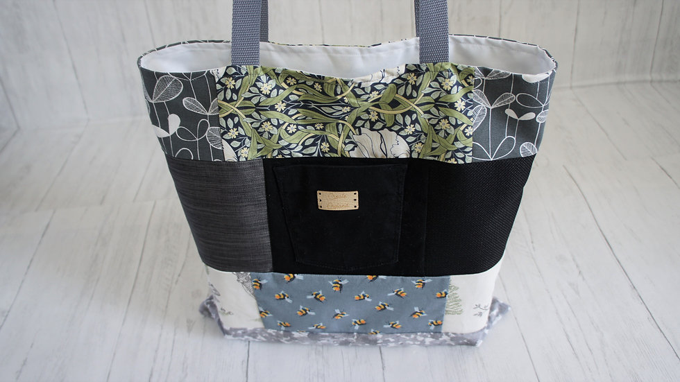 Unique patchwork scrappy shopping tote bag, fully lined with long handles