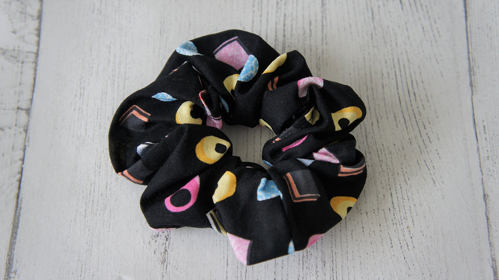 Black allsorts print 100% cotton scrunchie Create-England