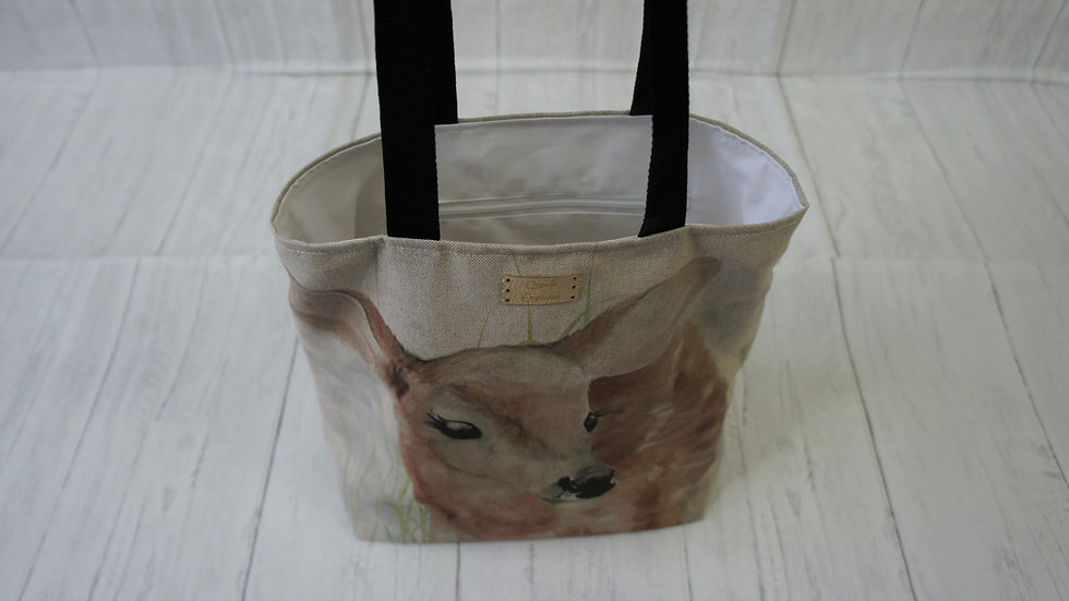 Deer Print Tote Bag Strong and Fully Lined Bag with 100cm handles and zip pocket