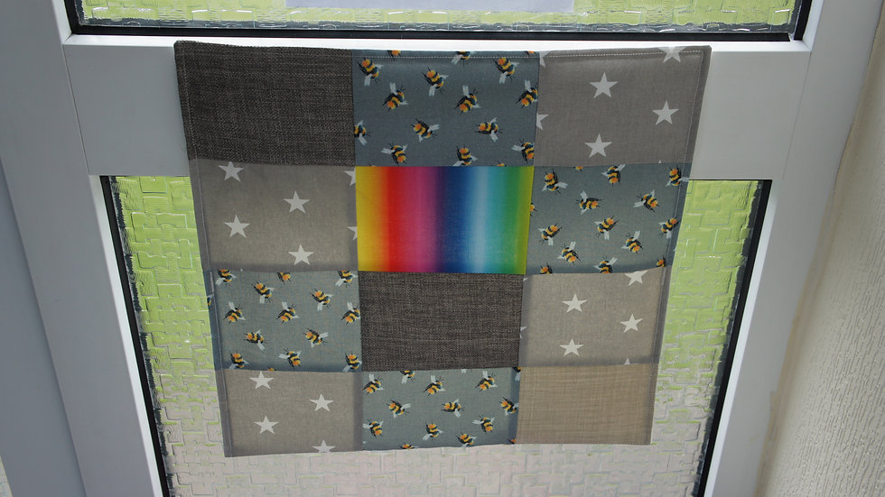Letter Catcher. Patchwork Letter Box post catcher. Rainbow Bee Star Grey