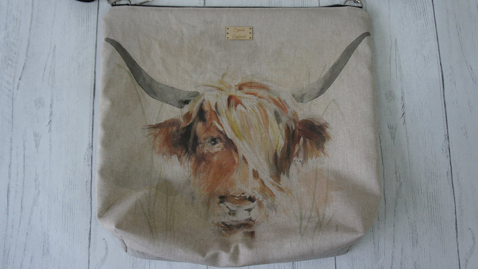 Highland Cow Print zip top Bag Strong Lined Adjustable Strap Internal Pockets