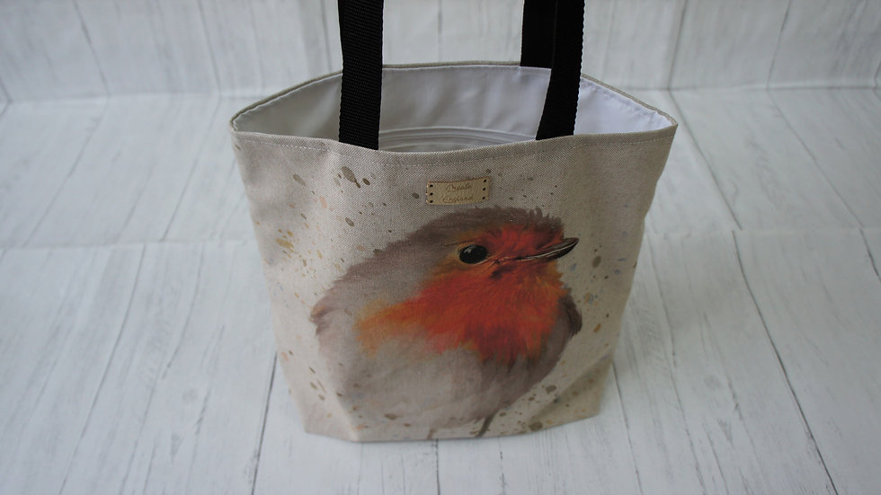 Robin Print Tote Bag. Strong Fully Lined Bag with 100cm handles and zip pocket