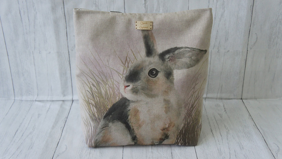 Rabbit Print Tote Bag. Strong and Fully Lined Bag with 100cm handles zip pocket