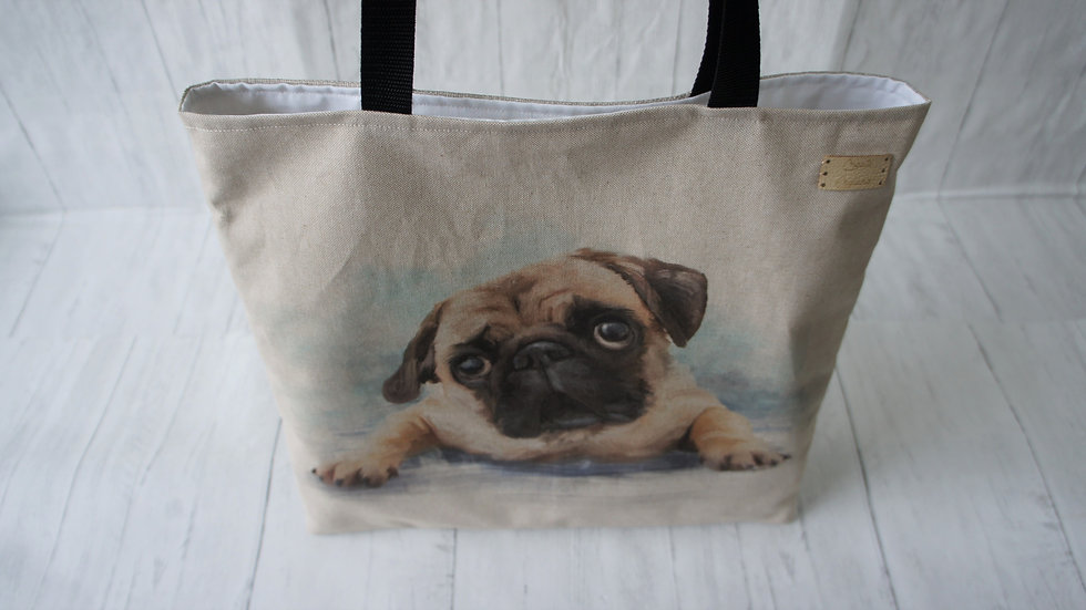 Pug Print Flat Tote Bag. Strong Lined Bag 41c41cm with 70cm handles