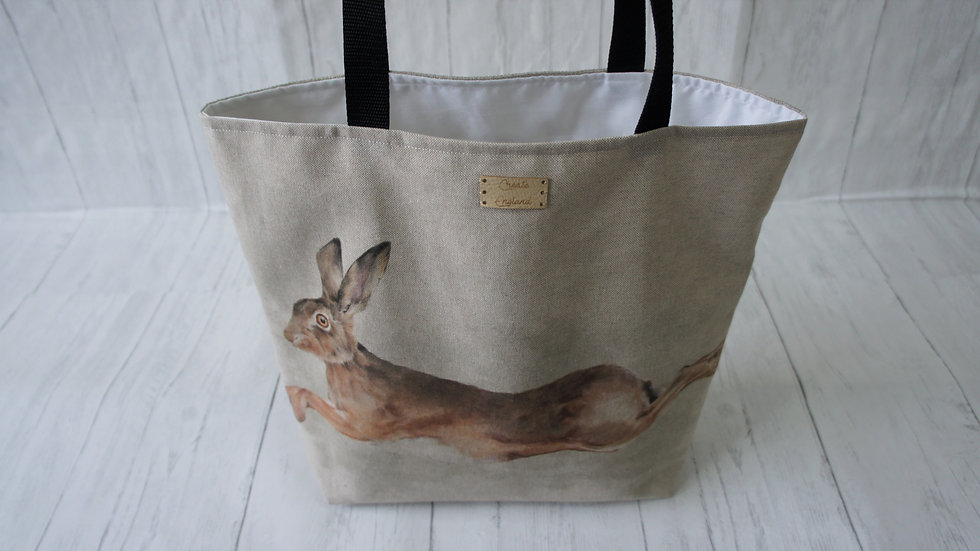 Leaping Hare Print Tote Bag. Strong Lined Bag with 100cm handles & zip pocket