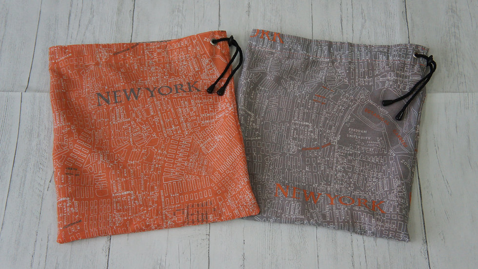 Drawstring Bags Recycled Fabric New York Map Print Orange or Grey with lining