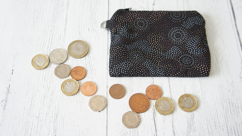 Single Section Coin Purse Black Spots Fabric