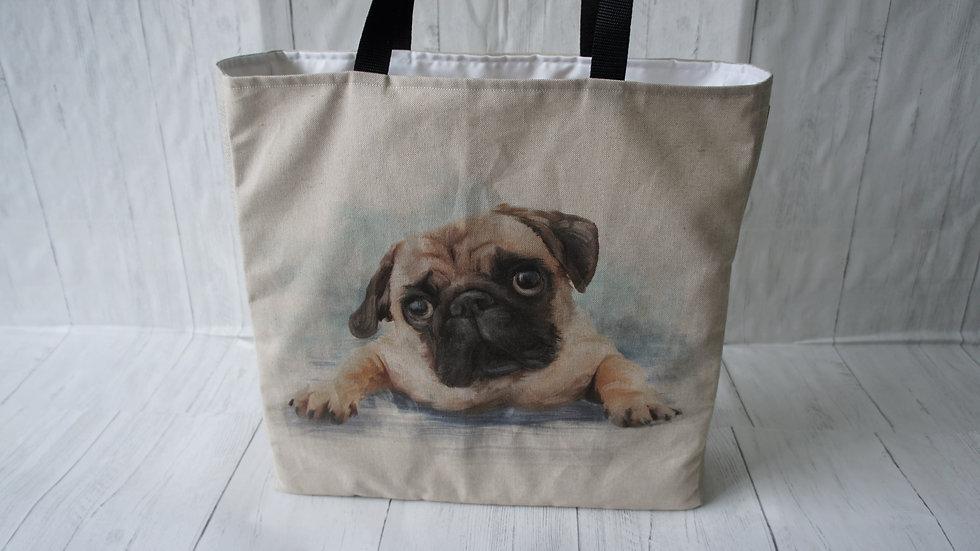 Pug print shopper bag. 41x41cm and 10cm deep with 70cm handles