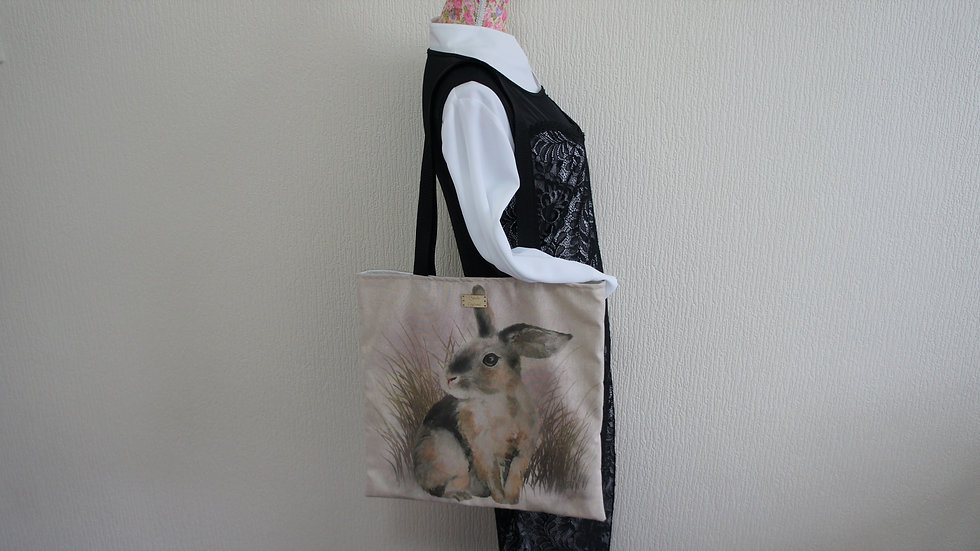 Rabbit Print Flat Tote Bag. Strong and Fully Lined Bag with 70cm handle