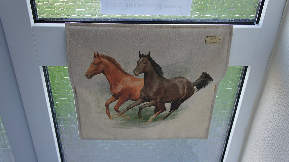 Letter box post catcher Horses fabric . Attaches easily with hook and eye