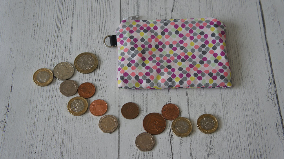 Three Section Coin Purse Colourful Spots Fabric