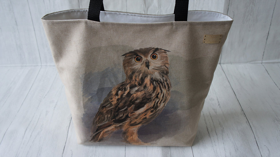Owl Print Tote Bag. Strong Lined Bag with 100cm handles